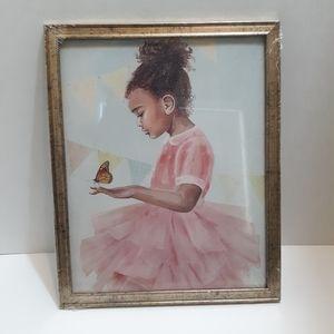 Framed Wall Art - African American Girl Butterfly